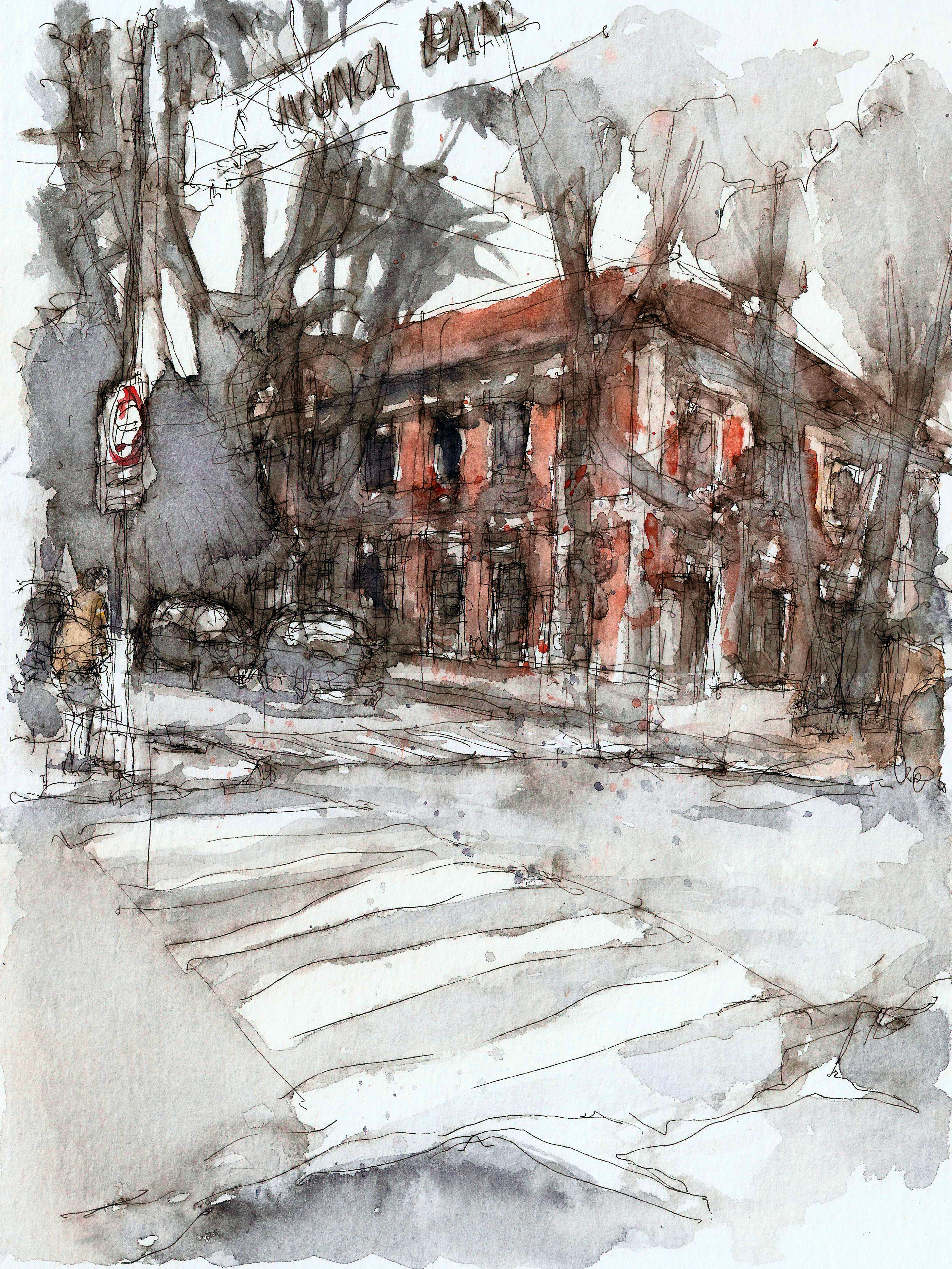 Watercolor drawing of the college