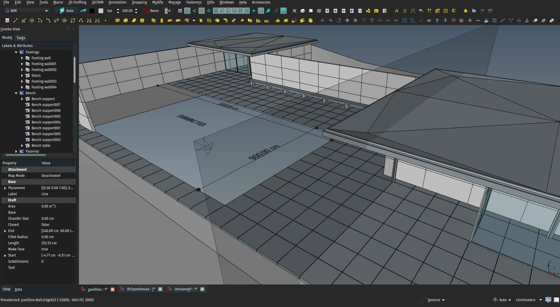 Screenshot of FreeCAD with the Pavillion model open