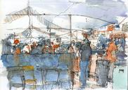 Todays drawings at Praça Benedito Calixto plus two quick ones I made this week in the bus and at UFABC