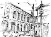 Todays drawings with Urban Sketchers São Paulo, at Vila Maria Zélia, a 1917 housing compound built for factory workers