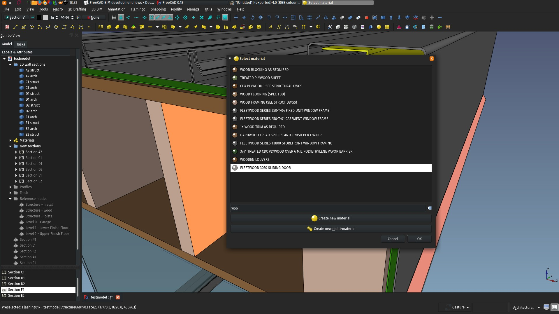 screenshot showing the material chooser