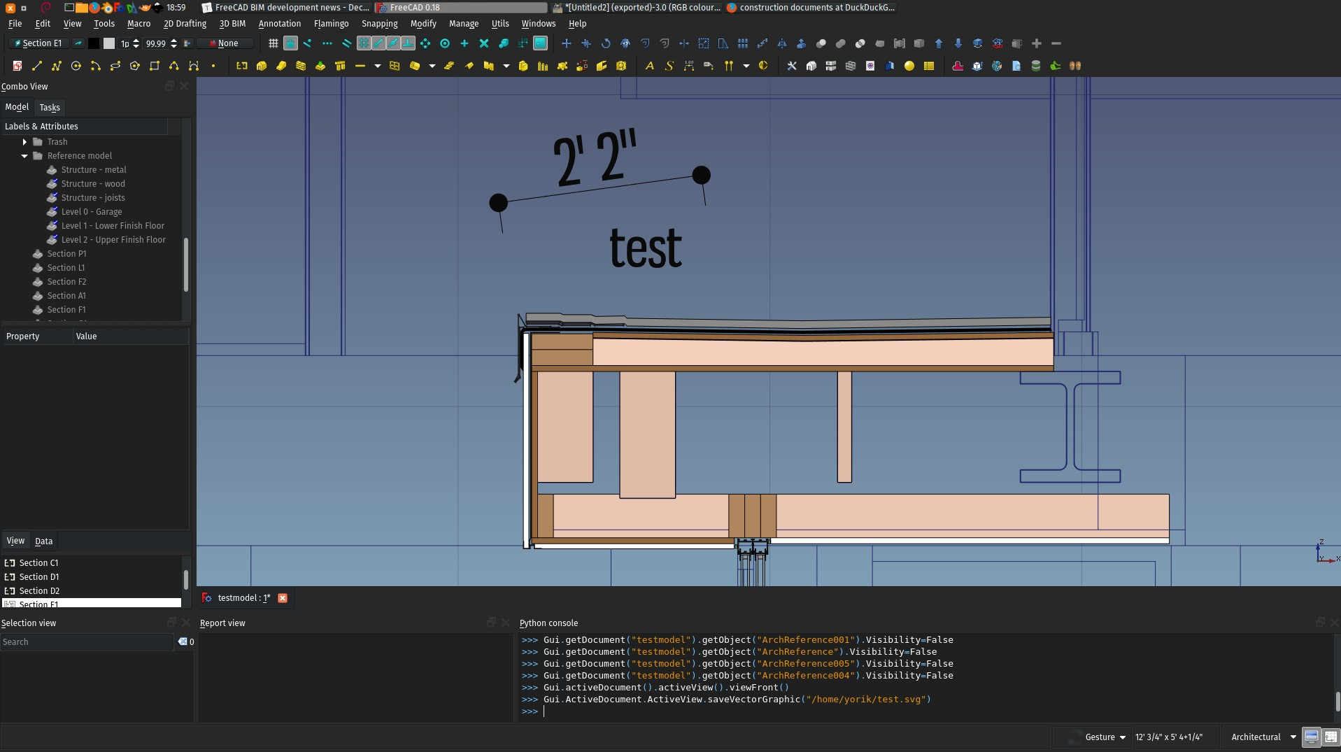 detail of the FreeCAD 3D view