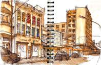 Two sketches of today at the No Arouche cultural center, nobody in the streets and the sun hitting hard...