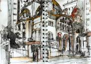 Sketches of sunday at the Orthodox metropolitan cathedral of São Paulo. Pretty cool that they let us draw during the...