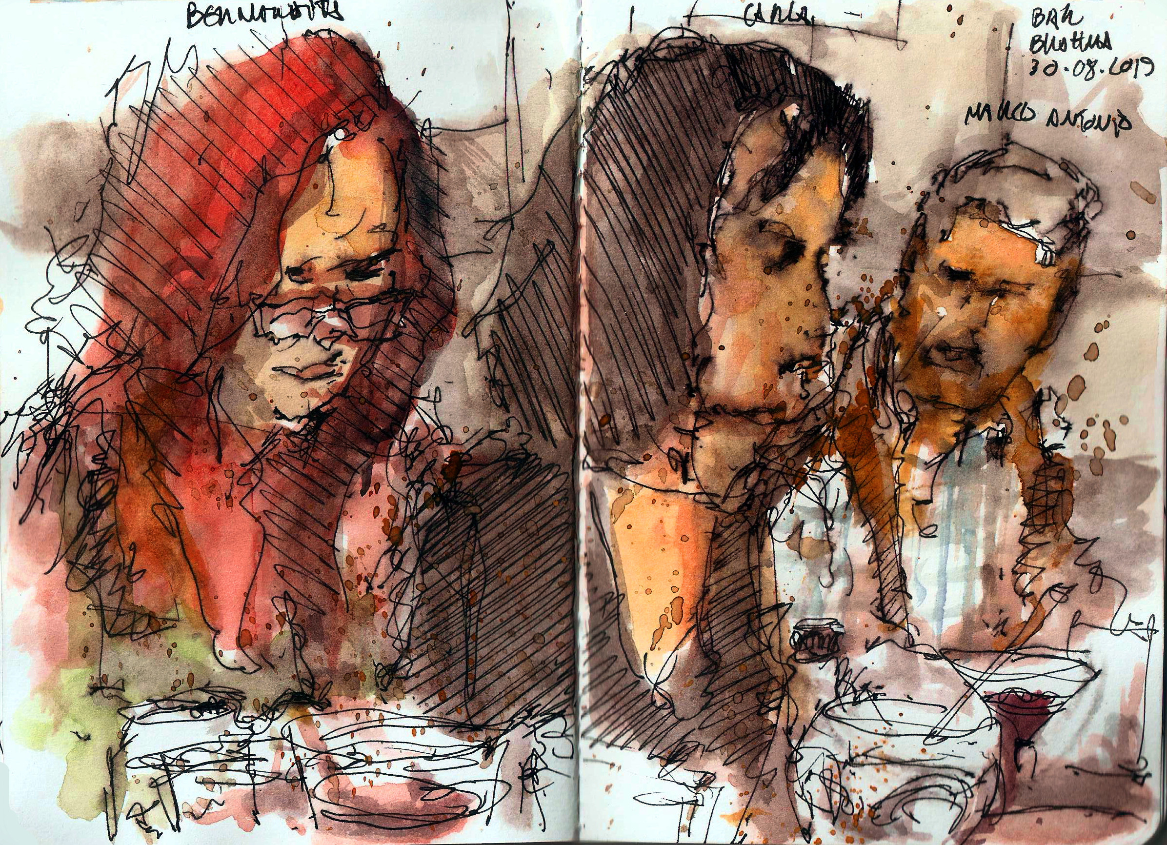 sketch of friends drinking