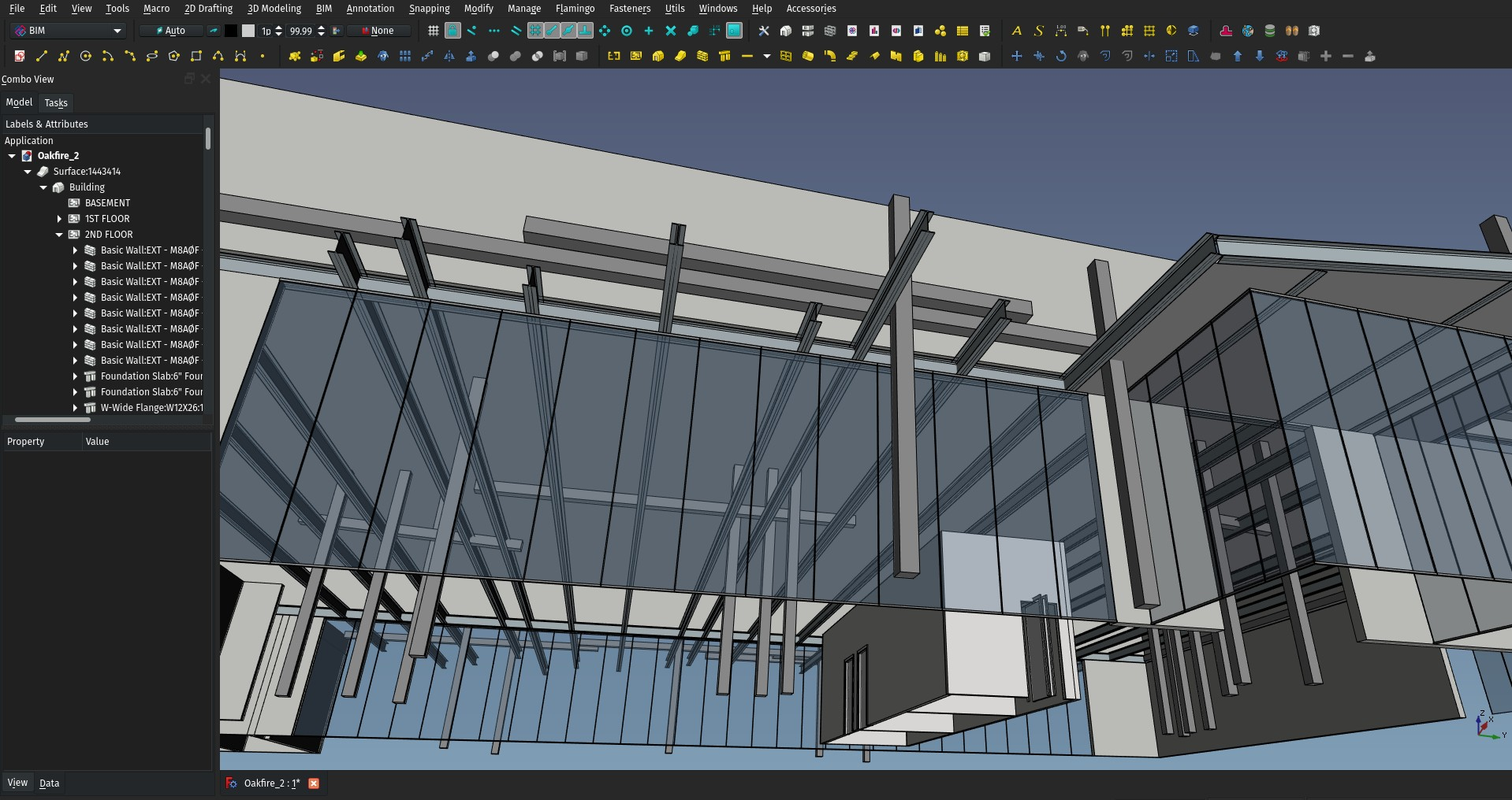 screenshot of a building in FreeCAD