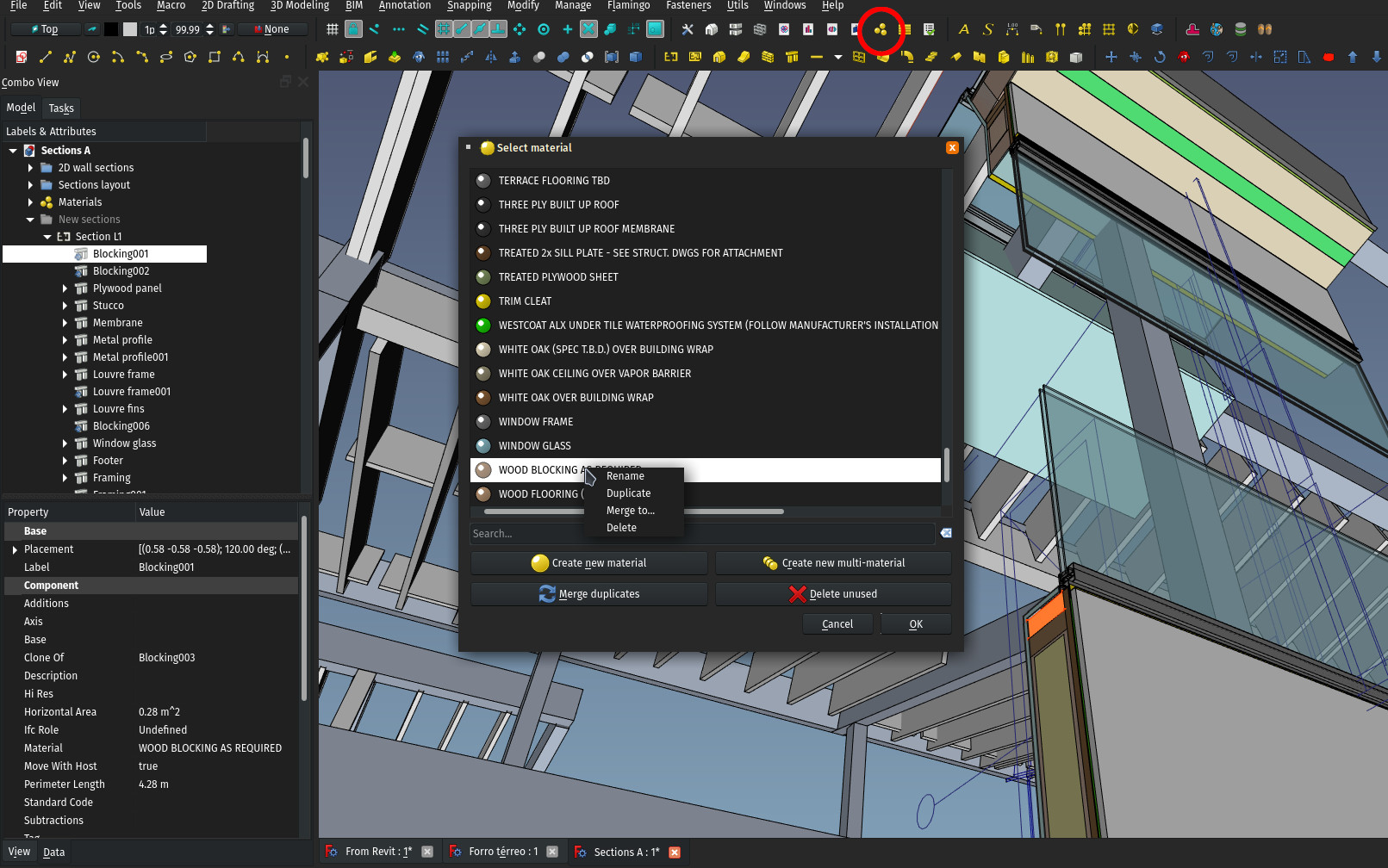 The material editor window