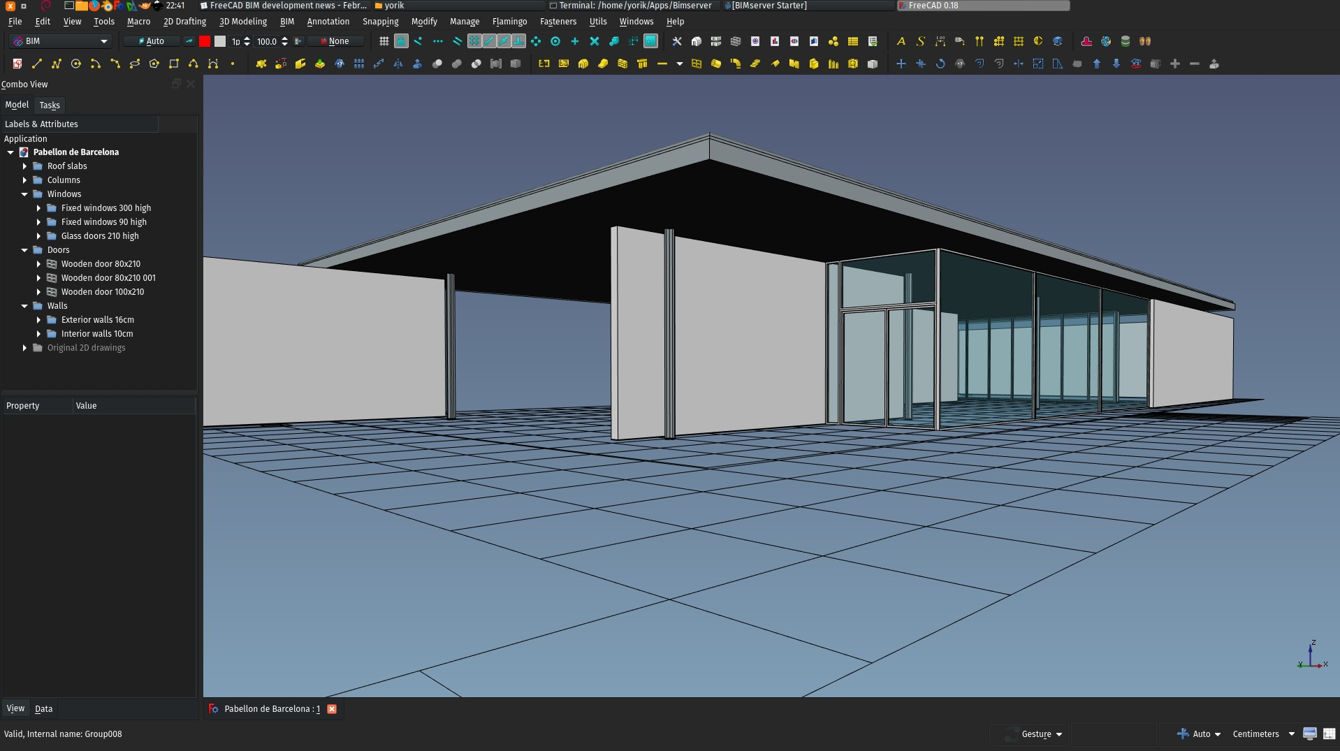 The Barcelona pavillon in FreeCAD