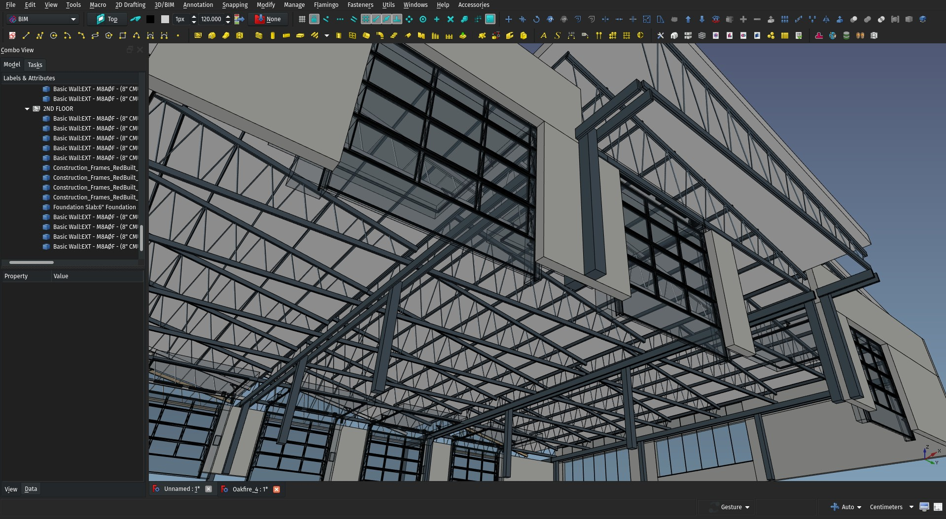 screenshot of the FreeCAD 3D view showing a building being modelled